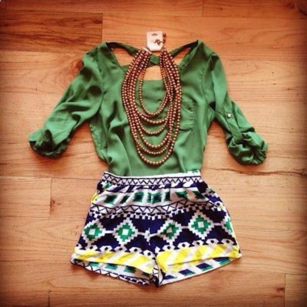 shorts tribal pattern green yellow summer cruise blouse