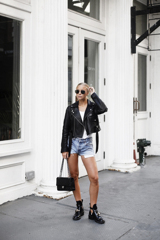 sunglasses tumblr rayban boots black boots ankle boots cut-out ankle boots bag black bag shorts denim denim shorts jacket black jacket leather jacket top