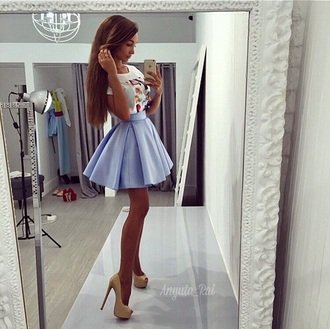 skirt blue puff puffy puffball cute teenagers tumblr light faded pastel waist party beach summer spring fall outfits winter outfits music mirror formal occasion