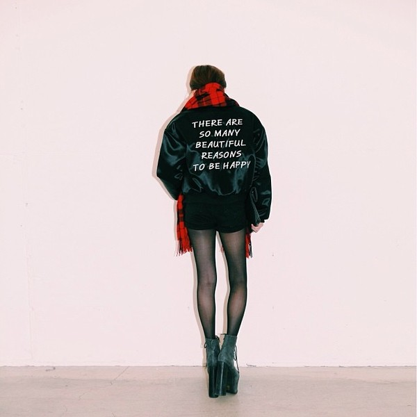 jacket stylenanda black quote on it