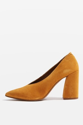 heel flare shoes mustard