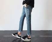shoes,black,adidas shoes,jeans,oldsneakers,adidas,girl,unisex,straight jeans,used look,adias,clothes,minimalist,worn jeans,watch,style,used look jeans,hipster