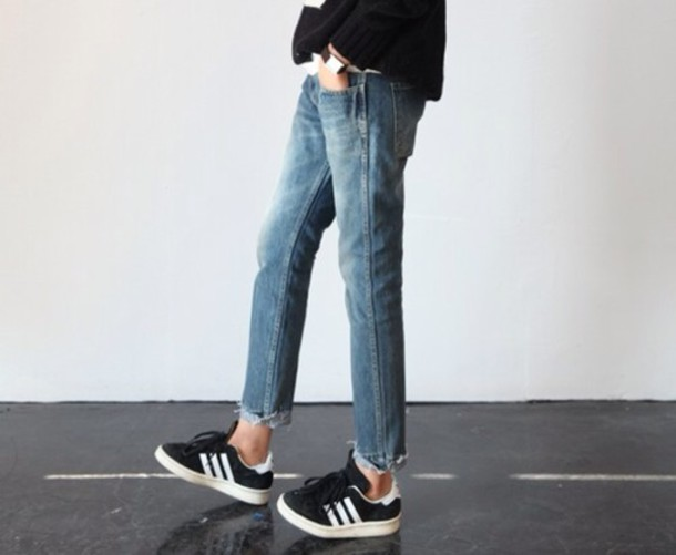 shoes black adidas shoes jeans oldsneakers adidas girl unisex straight jeans used look adias clothes minimalist worn jeans watch style used look jeans hipster