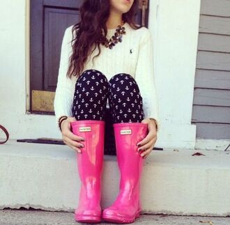 shoes rain boots hot pink anchor polo shirt navy white sweater spring shirt wellies hunter boots