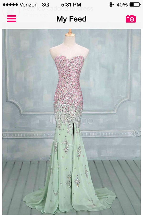 dress long prom dress prom dress rhinestones pink pink dress green dress green mint dress