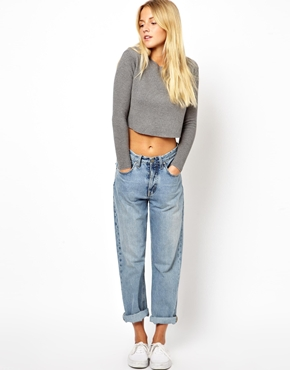 ASOS White | ASOS Premium Structured Cropped Sweater at ASOS