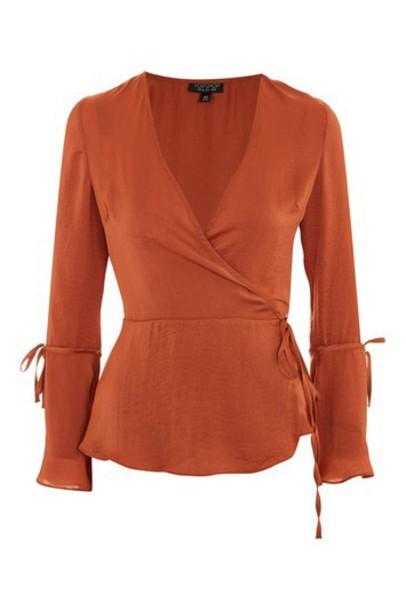 Topshop blouse satin rust top