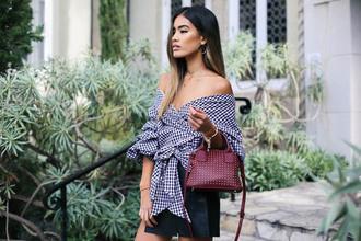 shirt tumblr off the shoulder off the shoulder top checkered checkered shirt skirt black skirt mini skirt bag burgundy mini bag handbag