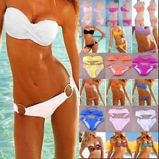 Womens Sexy Padded Strapless Bandeau Bikini TOP Bottom Beach Swimsuit Swimwear | eBay