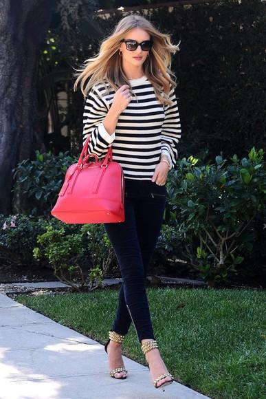 rosie huntington-whiteley jeans pants sandals
