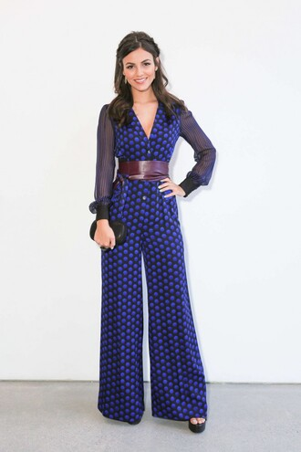 jumpsuit polka dots blue pants wide-leg pants plunge v neck victoria justice fashion week