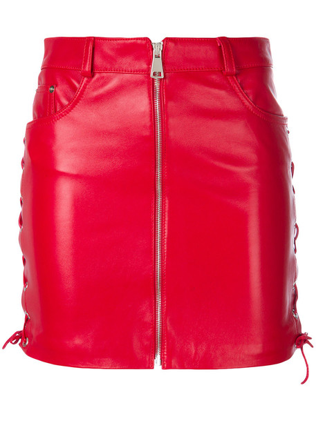 skirt zipped skirt short women leather red