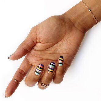nail accessories tumblr nail polish nails nail art stripes bracelets gold bracelet jewelry minimalist jewelry gold jewelry