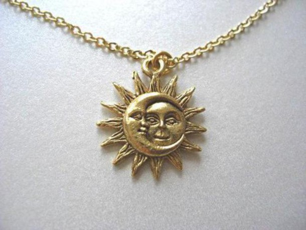jewels necklace sun moon gold