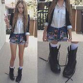 shoes,shorts,shirt,white,combat boots,blazer,acacia brinley,stars,jacket,chemise,swag,pretty,boots,black,blouse,denim