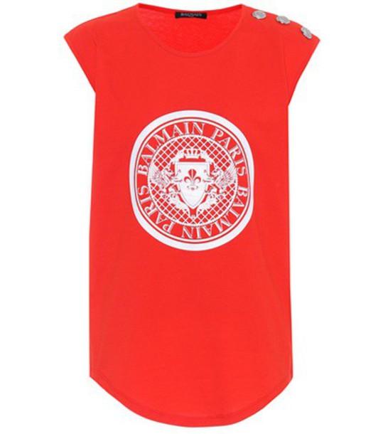 Balmain top sleeveless cotton red