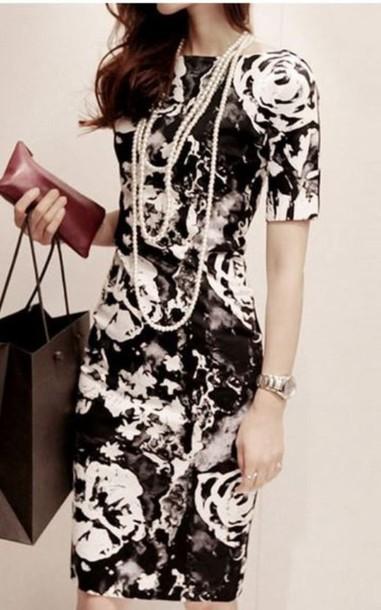 black and white white rose print bodycon dress short sleeve dress www.ustrendy.com