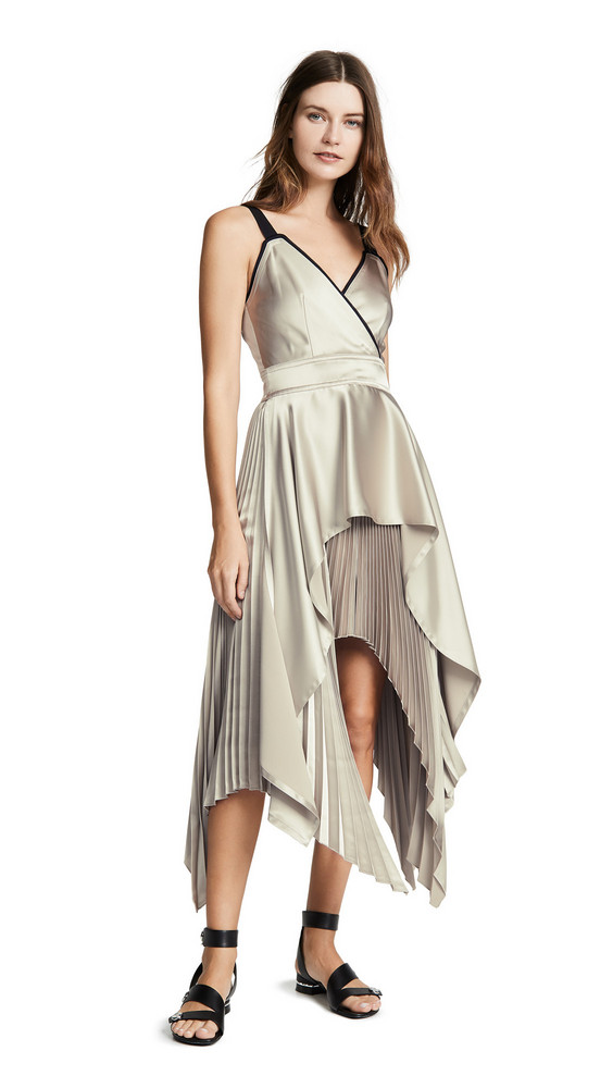 Yigal Azrouel Textured V Neck Pleat Dress in multi
