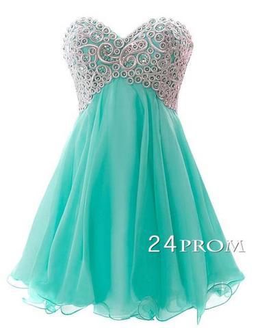 Sweetheart A-line Chiffon Short Green Prom Dresses, Homecoming Dresses - 24prom