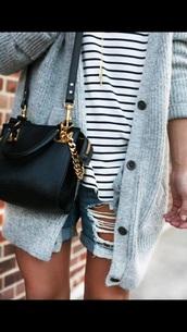 bag,blouse,top,cardigan,shorts,black bag,marinière girls,grey cardigan,grey,gray cardigan,ripped jeans,ripped shorts,girly,sweater,hair accessory,hat,t-shirt