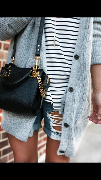 bag blouse top cardigan shorts black bag marinière girls grey cardigan grey grey gray cardigan ripped jeans ripped shorts girly sweater hair accessory hat t-shirt