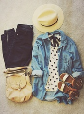 shirt,shoes,bag,blouse,black,white,polka dots,denim jacket,denim,sandals,flat sandals,flats,jeans,hat,t-shirt,gold sandals,Gold low heel sandals,jacket,satchel bag,top,style,black jeans,polkadotblouse,denim shirt,sun hat,brown sandals,tan purse