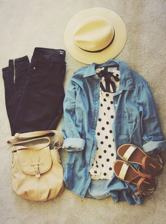 shirt shoes bag blouse black white polka dots denim jacket denim sandals flat sandals flats jeans hat t-shirt gold sandals gold low heel sandals jacket satchel bag black and white top style black jeans polkadotblouse denim shirt sun hat brown sandals tan purse