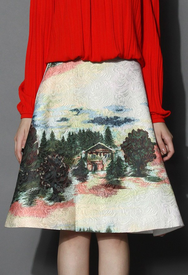 chicwish a-line skirt embossed