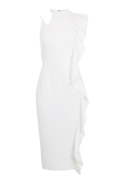 dress midi dress ruffle midi white