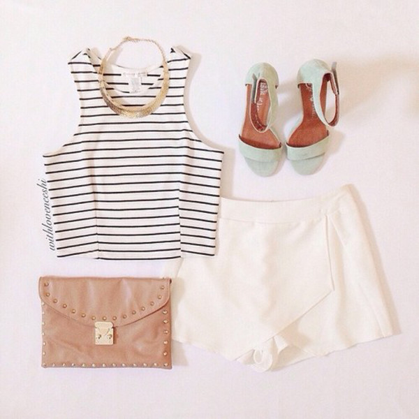 shorts jewels tank top shoes bag shirt