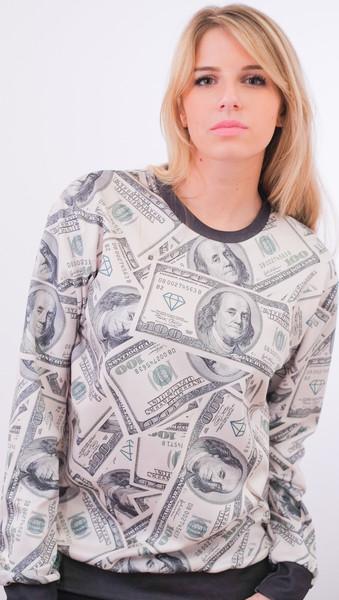 Dolla dollar bill print sweater – glamzelle