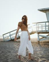 pants,cropped pants,slide shoes,wide-leg pants,crop tops,stripes,sunglasses