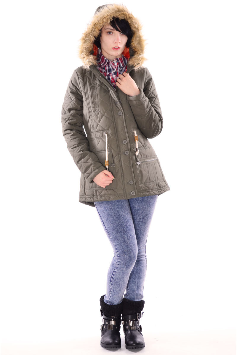 Faida Long Quilted Hooded Jacket in Khaki