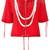 Moschino - polka dot trompe-l'oeil pearl hoodie - women - Silk - 42, Red, Silk