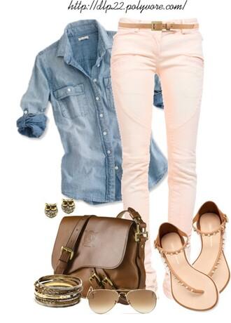 shoes bag jeans jacket earrings sandals shades ralph lauren pastel pink top