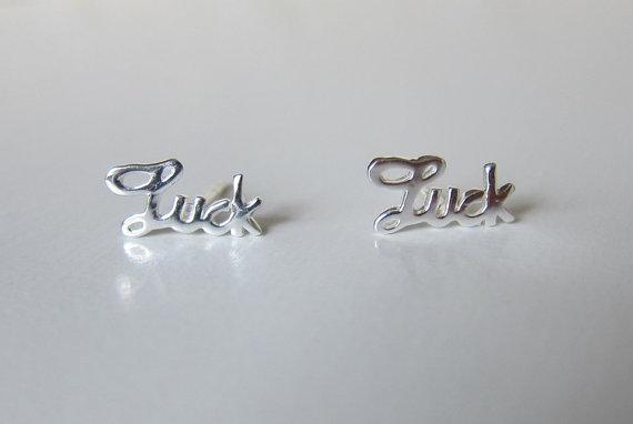 Sterling Silver Luck Ear Studs Word Earring by GreatJewelry4All
