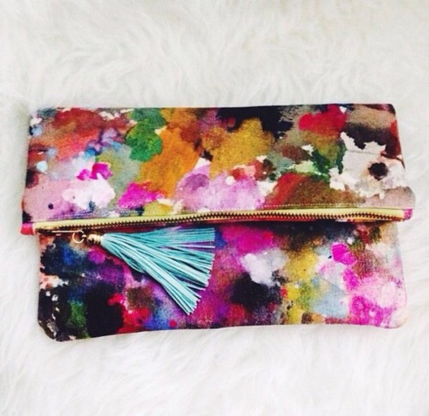 bag vintage clutch painted