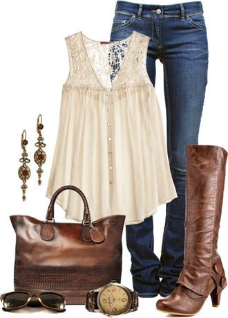 shirt lace shirt button up bag shoes tank top white jeans boots purse blouse