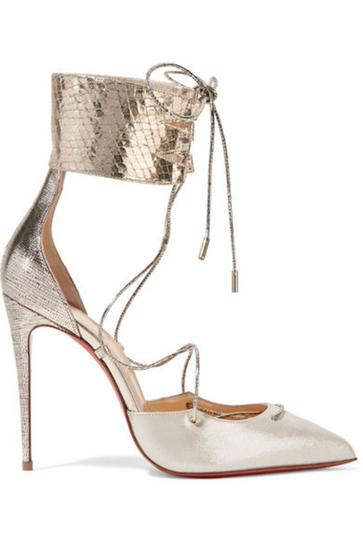 ed26b0e1502 Christian Louboutin - Corsankle 100 Metallic Leather And Lamé Pumps - Silver