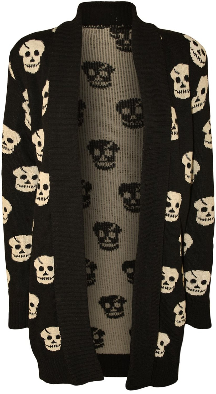 PaperMoon Women's Knit Skull Pattern Open Cardigan at Amazon Women's Clothing store: Cardigan Sweaters