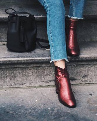 shoes tumblr boots red boots ankle boots bag black bag bucket bag denim blue jeans frayed denim frayed jeans metallic boots metallic shoes burgundy cropped jeans fall accessories