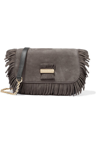 bag shoulder bag leather suede charcoal