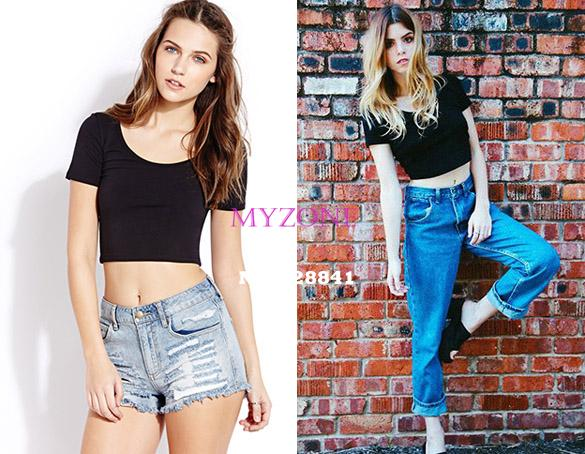 2014 New Women Best Sell U neck Sexy Crop Top Ladies Short Sleeve T Shirt Tee Short T shirt Basic Stretch T shirts b4 SV007416-in T-Shirts from Apparel & Accessories on Aliexpress.com | Alibaba Group