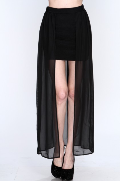 Sheer Overlay Sexy Maxi Skirt @ Amiclubwear Clothing Skirts Online ...