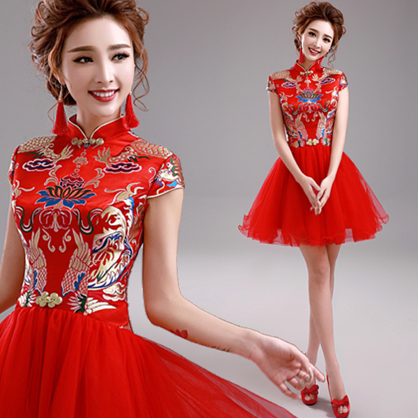 Red Cheongsam Qipao Chinese Traditional Dress Embroidery
