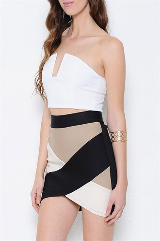 shirt top crop strapless zip sexy party trendyish 28719