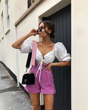 shorts,short,pink shorts,top,white top,bag,black bag,sunglasses,necklace