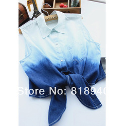 Online Shop Ladies Tie Front Dye Dip Shirt Long Sleeve Denim Blouse Gradient Asymmetric Button|Aliexpress Mobile
