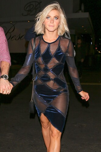 dress sheer party dress asymmetrical julianne hough blue dress see through dress
