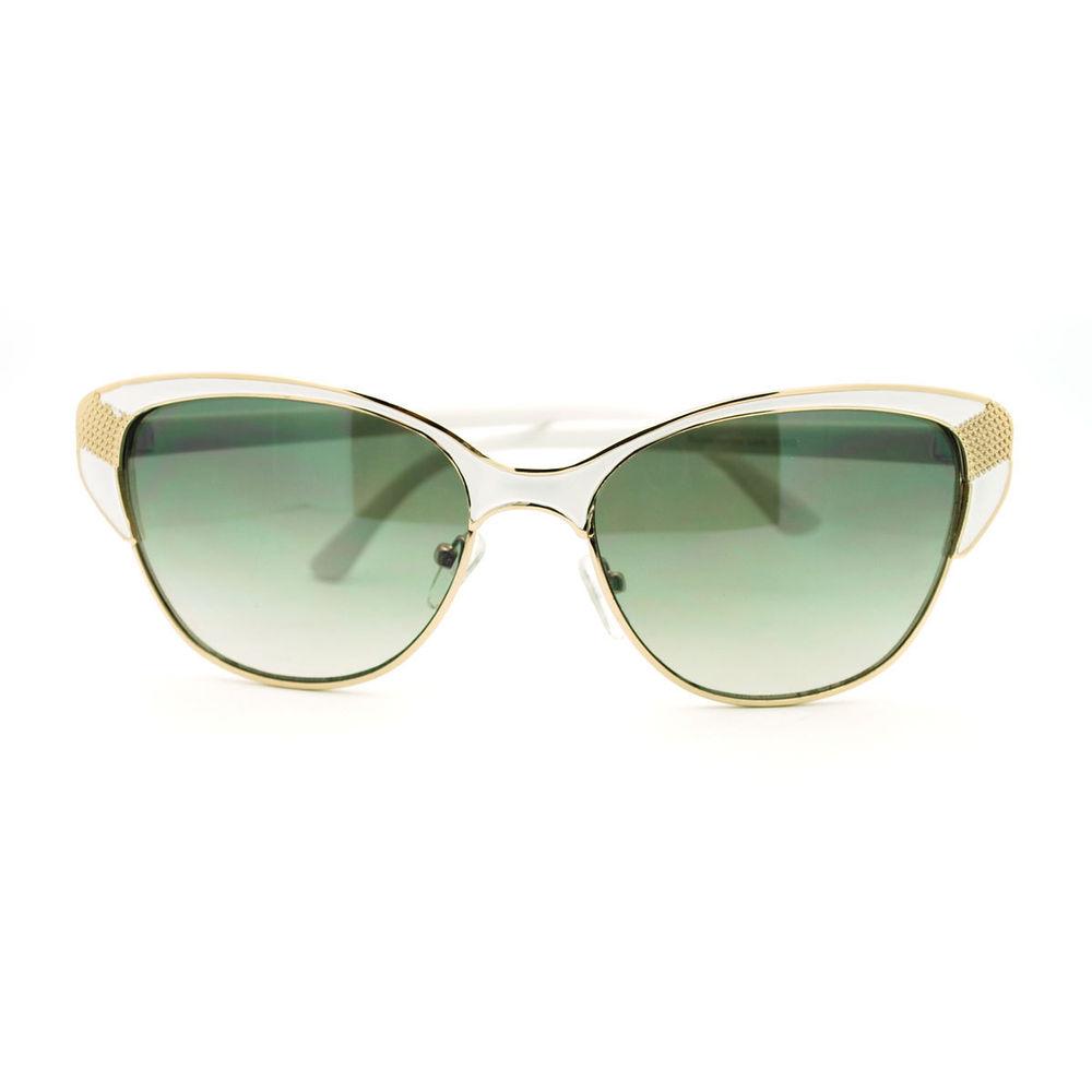 b7afd51859 Retro Metal Frame Cat Eye Half Rim Sunglasses White